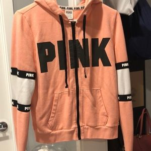 Pink Hoodie with full zipper front.